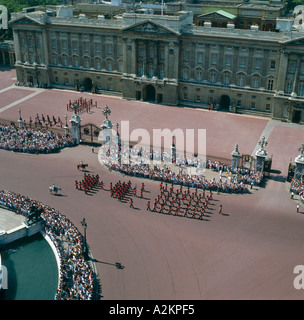 Changing the guard at Buckingham Palace London aerial view - Stock Photo