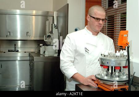 Heston Blumenthal well known three Michelin star chef working in his food development laboratory in Bray Berkshire - Stock Photo