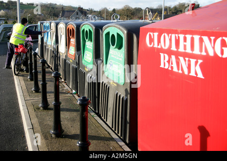 Recycling bins in a supermarket car park Carrickmacross County Monaghan - Stock Photo