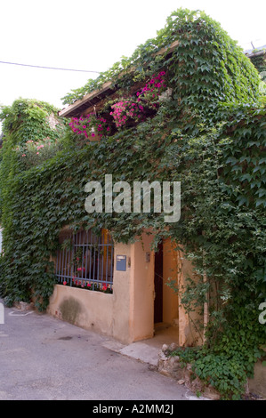 17th century Provençal villa with balcony covered in climbing plant - Stock Photo