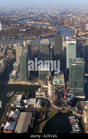 aerial view looking west at the modern office buildings at Canary Wharf London - Stock Photo