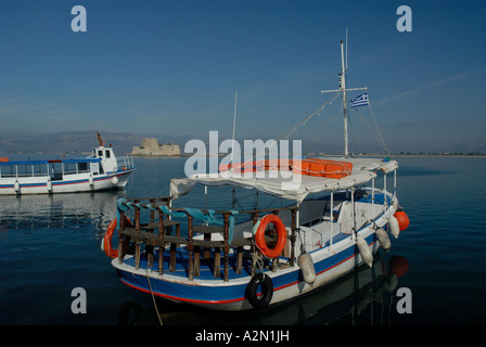 Boats in harbour of Nafplio, Bay of Argos, Greece - Stock Photo