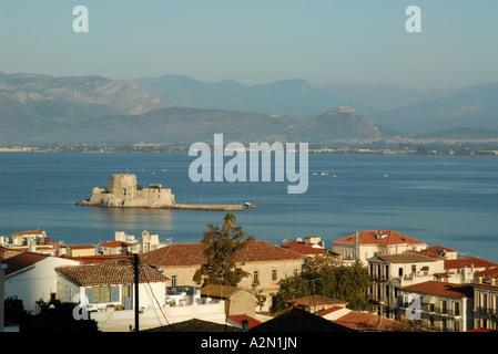 Roofs of Nafplio, Bay of Argos, Greece - Stock Photo