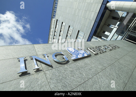 Low angle view of commercial building, Bhf-Bank, Offenbach-Kaiserlei, Frankfurt, Hesse, Germany - Stock Photo