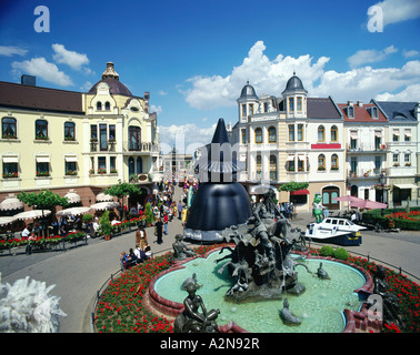 Fountain in front of buildings, Phantasialand, Bruhl, Cologne, North Rhine-Westphalia, Germany - Stock Photo