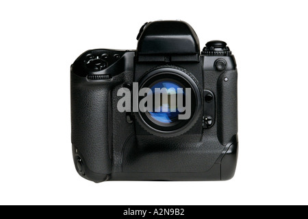 SLR 35MM FILM CAMERA ON WHITE BACKGROUND - Stock Photo