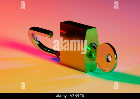 PADLOCK KEY UNLOCKED - Stock Photo