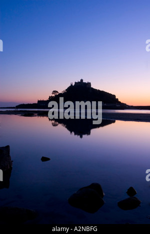Silhouette of mountain at dusk, St Michael's Mount, Mounts Bay, England - Stock Photo
