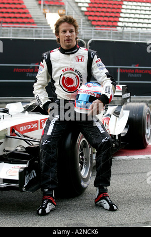 Jenson Button GBR Honda F1 Racing Honda F1 RA106 Launch 25 1 06 Barcelona Spain - Stock Photo