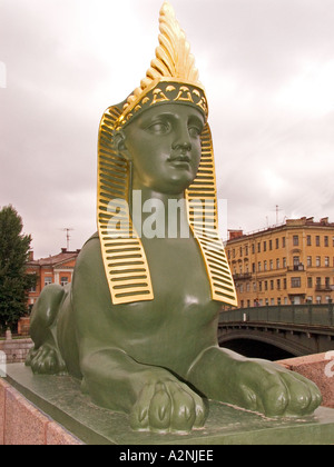 GUS Russia St Petersburg 300 years old Venice of the North Egyptian Bridge at the River Fontanka - Stock Photo
