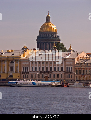 GUS Russia St Petersburg 300 years old Venice of the North River Newa Downtown with the big Golden Dome of Isaak - Stock Photo