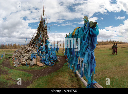 Obo - traditional Mongolian cult construction and ritual tent. Top of the Uliin Daba pass.  Darhadyn Wetland. North - Stock Photo
