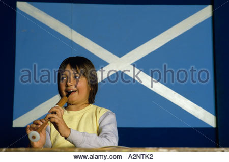 Children learning to play pipes at Hibernian Club in Kalgoorie gold mining town in Western Australia - Stock Photo