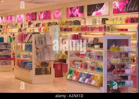 duty free perfume shop in Andorra - Stock Photo