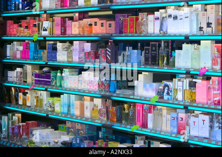 Duty free perfume on sale in an Andorran shop - Stock Photo