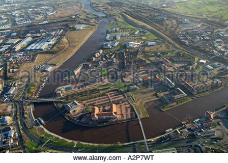 Regeneration area of Stockton upon Tees, North East England, showing river Tees and Millenium bridge - January 2007 - Stock Photo