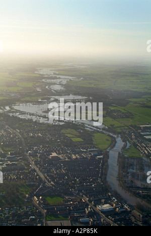 River Ouse south of York in flood, January 2007, North Yorkshire - Stock Photo