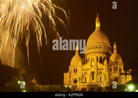 firework on Montmatre near Sacre Coeur  in Paris; national holiday, July, 14th, France, Paris - Stock Photo