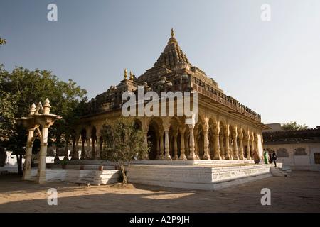 India Rajasthan Jodhpur Maha Mandir the great temple surrounded by carved stone pillars - Stock Photo