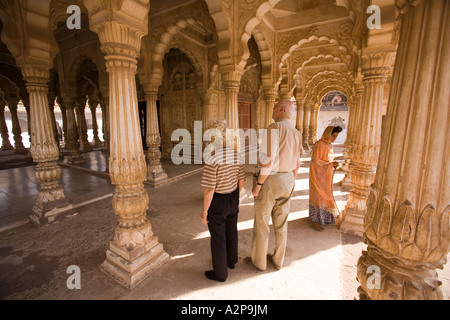 India Rajasthan Jodhpur older western tourists in Maha Mandir the great temple - Stock Photo