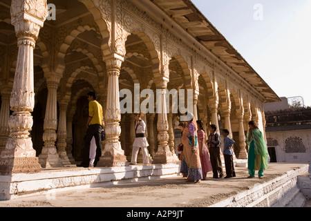 India Rajasthan Jodhpur Maha Mandir the great temple visitors in the columned exterior - Stock Photo