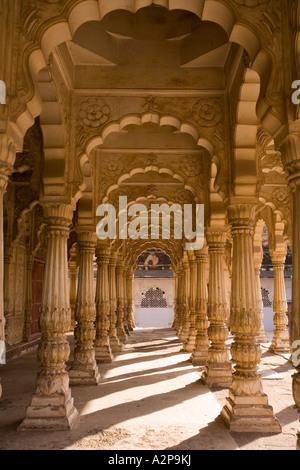 India Rajasthan Jodhpur Maha Mandir the great temple columns supporting roof - Stock Photo