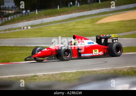 ex jean alessi ferrari formula one car being driven around brands hatch race circuit kent england - Stock Photo