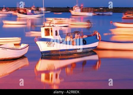 Fisherboats at the harbour of Santa Luzia, Tavira, Algarve, Portugal - Stock Photo
