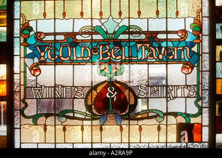 Stained glass window of Ye Olde Bell Tavern in Fleet Street London UK - Stock Photo