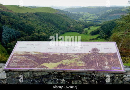 View from Forestry Commissions Bwlch Nant Yr Arian down Cwm Meldindwr Valley toward Aberystwyth Mid Wales UK GB - Stock Photo