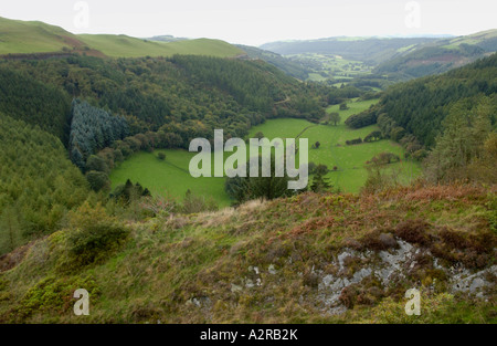 View from Forestry Commissions Bwlch Nant Yr Arian down Cwm Meldindwr Valley toward Aberystwyth Mid Wales UK - Stock Photo