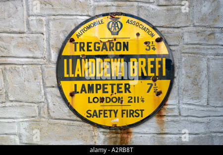 Old AA sign on wall at Llanddewi Brefi Ceredigion Wales UK - Stock Photo