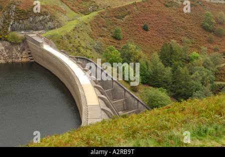 Clywedog reservoir dam low water at end of summer near Llanidloes Powys Mid Wales UK - Stock Photo