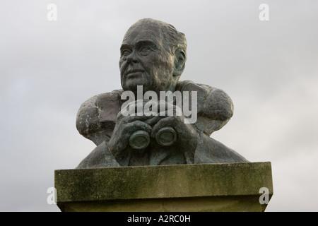 Bronze bust of Sir Peter Scott Wildfowl and Wetland Trust Slimbridge UK - Stock Photo