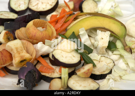 Kitchen waste Banan skins apple cores soft prunings onions are ideal medium fibre materials for composting - Stock Photo