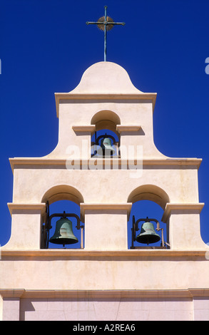USA California Paso Robles Church Belfry of Spanish Mission style - Stock Photo