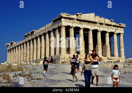 The Parthenon is a temple of the Greek goddess Athena, built in the 5th century BC on the Athenian Acropolis - Stock Photo