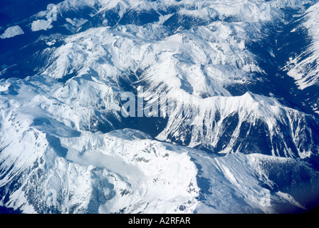 Snow-capped Mountain Peaks in the Canadian Rockies British Columbia Canada - Stock Photo