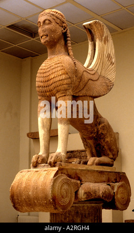 Large Sphinx of Naxos Archaeological Museum Delphi - Stock Photo