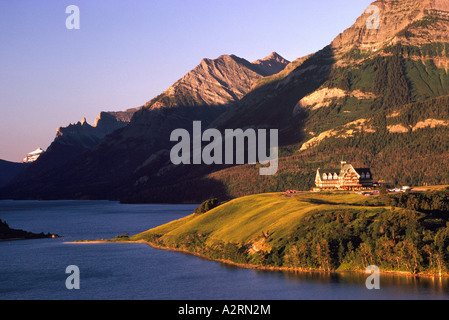Waterton Lakes National Park, Alberta, Canada - Prince of Wales Hotel, National Historic Site in Canadian Rockies - Stock Photo