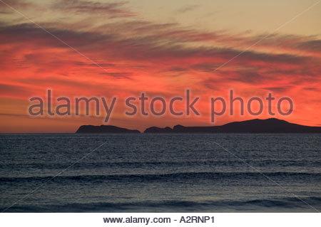 Newgale Saint Davids Pembrokeshire Wales at sunset - Stock Photo