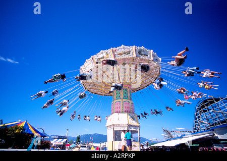 'Wave Swinger' Amusement Park Ride at Playland, Pacific National Exhibition (PNE), Vancouver, BC, British Columbia, - Stock Photo