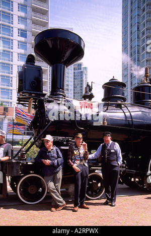 Historic CPR Engine 374 restored and located at the Roundhouse in Downtown Vancouver British Columbia Canada - Stock Photo