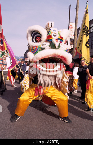 Chinese New Year Lion Dance (aka Dragon Dance) at Parade and Celebration - Chinatown, Vancouver, BC, British Columbia, - Stock Photo