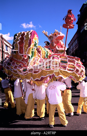 Chinese New Year Dragon Dance, Dragons at Festival Parade Celebration - Chinatown, Vancouver, BC, British Columbia, - Stock Photo