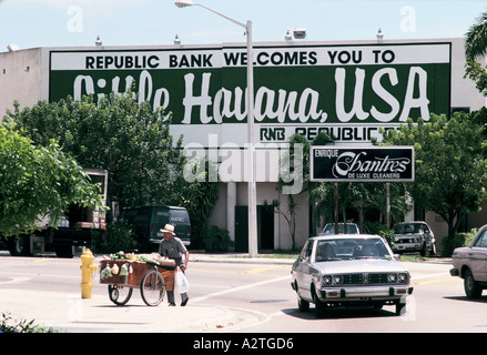 Car park outside the Republic Bank in Little Havana, Miami - Stock Photo