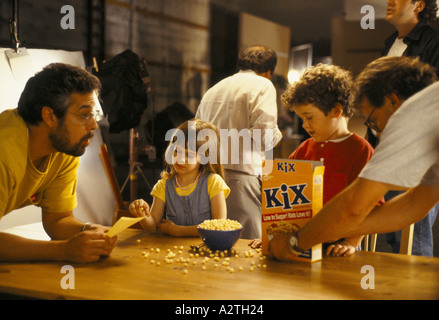 filming of a breakfast cereal advertisement in hollywood - Stock Photo
