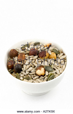 Candida mix. Mixture of sunflower seeds, pumpkin seeds, hemp seeds and hazelnuts - ideal for those suffering from - Stock Photo