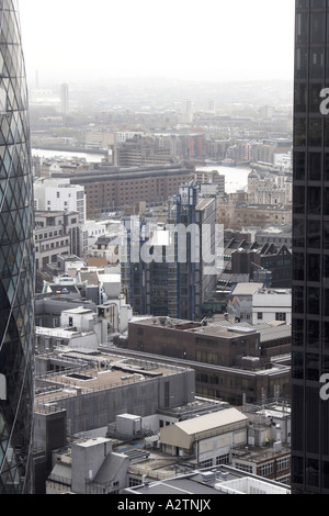 High level semi aerial view south east of Lloyds Register Building City of London EC2 England UK - Stock Photo