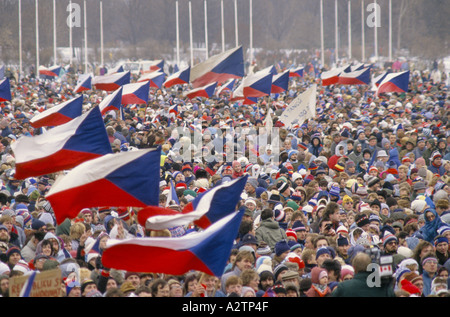 part of the 1 2 million strong crowd at demo during the velvet revolution 1989 - Stock Photo